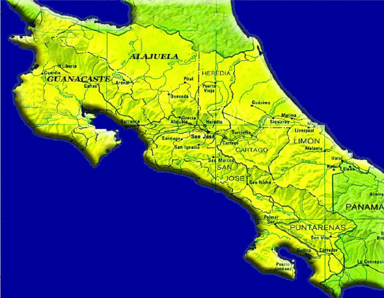 Geo-Political Map Of Costa Rica
